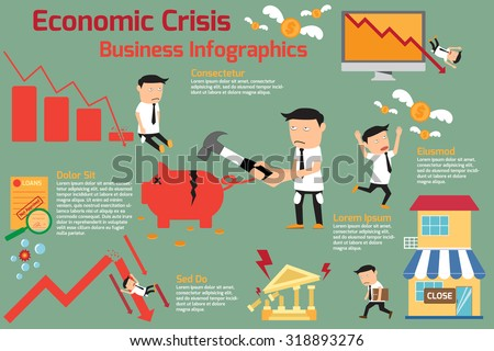 economic crisis infographics elements. financial having investment graph downturn. vector illustration. - stock vector