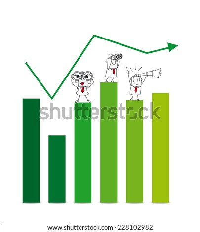 economic growth. two Businessmen and a businesswoman on a chart with a telescope and binoculars. It is a metaphor of the results and goals of a company - stock vector