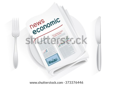 Economic newspaper on a plate on a white background. News of the politics government economic business. Fork and knife to eat news. News kitchen. Cooking breaking news. - stock vector