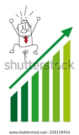Economic victory with Joe. Joe is very happy, he has reached his goals - stock vector