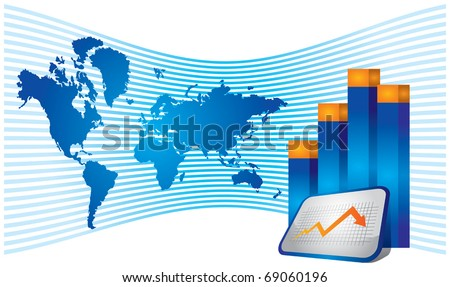 Economical growth graph with word map arrow - stock vector