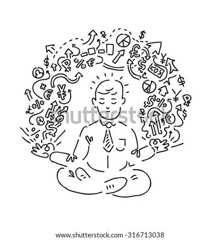 economist yoga doodle illustration vector stock vector