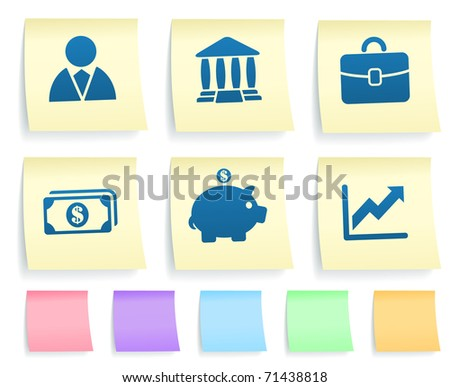 Economy Icons on Post It Note Paper Collection Original Illustration - stock vector