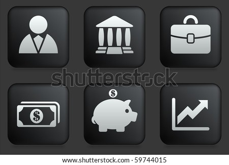 Economy Icons on Square Black Button Collection Original Illustration - stock vector
