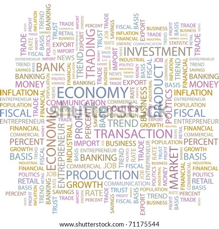 ECONOMY. Illustration with different association terms in white background. - stock vector