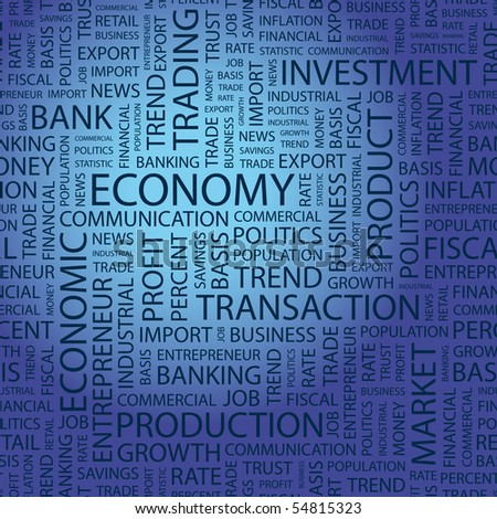 ECONOMY. Word collage on blue background. Vector illustration. - stock vector