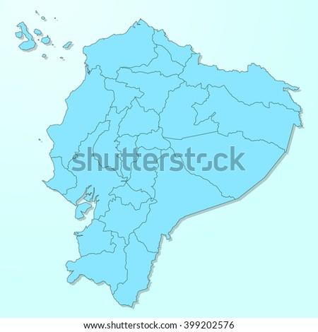 Ecuador blue map on degraded background vector - stock vector