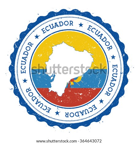 Ecuador map and flag in vintage rubber stamp of country colours. Grungy travel stamp with map and flag of Ecuador, vector illustration - stock vector