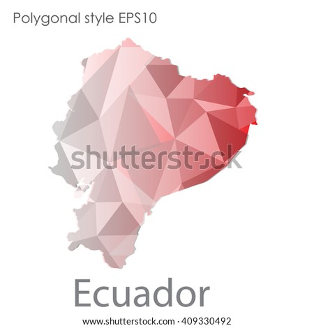 Ecuador map in geometric polygonal style.Abstract gems triangle,modern design background. - stock vector