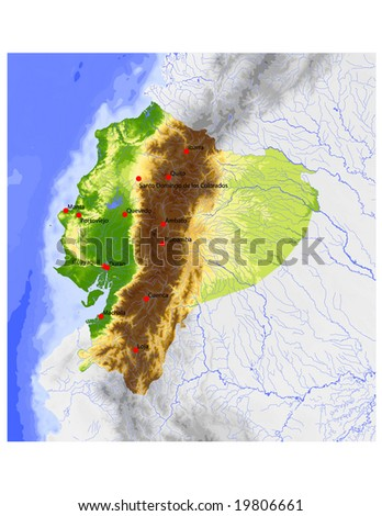 Ecuador. Physical vector map, colored according to elevation, with rivers, ocean depths and selected cities. Surrounding territory greyed out. 64 layers, fully editable. Data source: NASA - stock vector