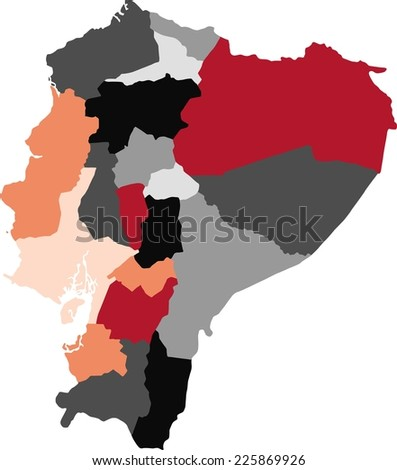 Ecuador political map with pastel colors. - stock vector