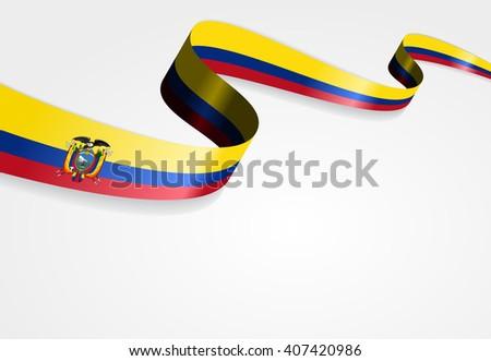 Ecuadorian flag wavy abstract background. Vector illustration. - stock vector