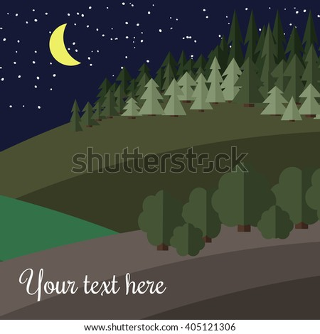 Edge of the Forest at Night. - stock vector