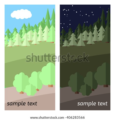 Edge of the Forest. The Sunny and the Night Sky in the Forest. - stock vector