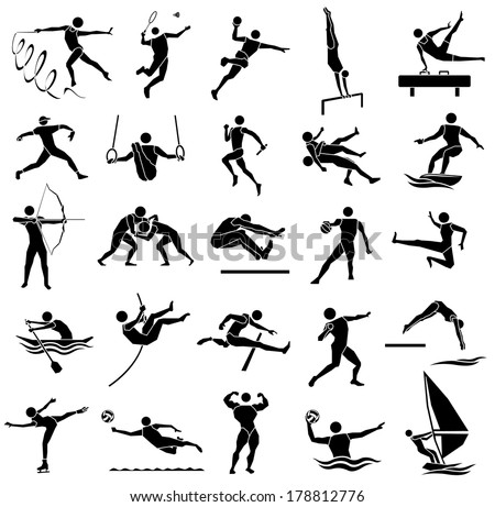edge style of silhouette sport icon set in white background, vector set - stock vector