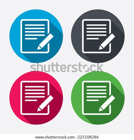 Edit document sign icon. Edit content button. Circle buttons with long shadow. 4 icons set. Vector - stock vector