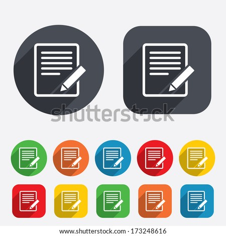 Edit document sign icon. Edit content button. Circles and rounded squares 12 buttons. Vector - stock vector