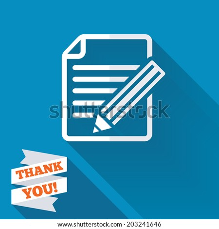 Edit document sign icon. Edit content button. White flat icon with long shadow. Paper ribbon label with Thank you text. Vector - stock vector