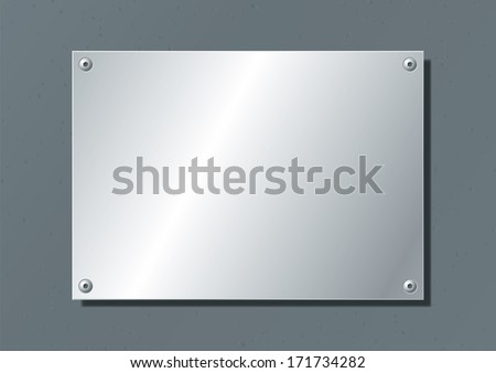 editable aluminum company plate fixed with allen screws - stock vector