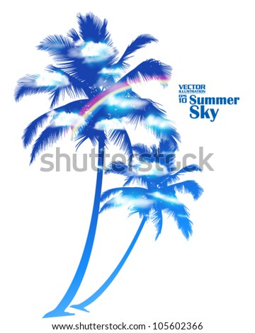 editable beautiful summer sky with rainbow and palm tree vector design