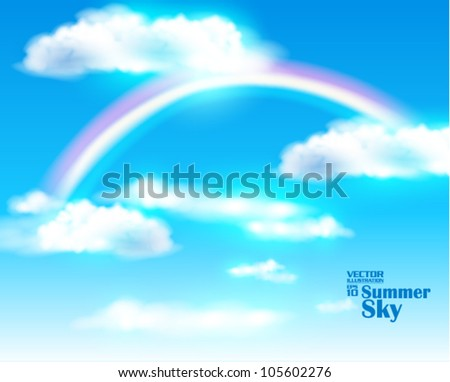 editable beautiful summer sky with rainbow vector design - stock vector