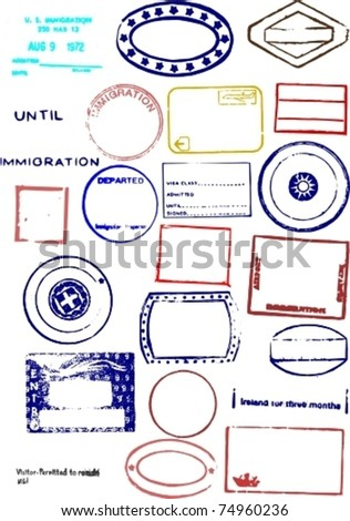 Editable Blank Passport Stamp Vector Graphics - stock vector