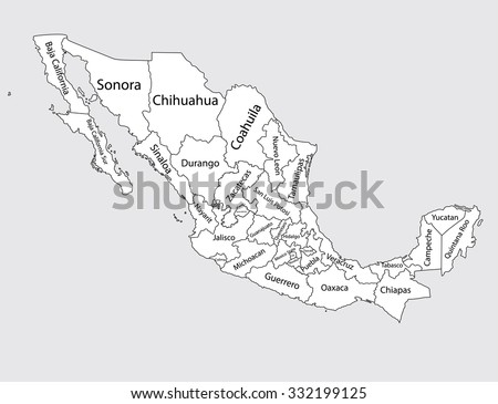 Editable Blank Vector Map Mexico Vector Stock Vector 332199125