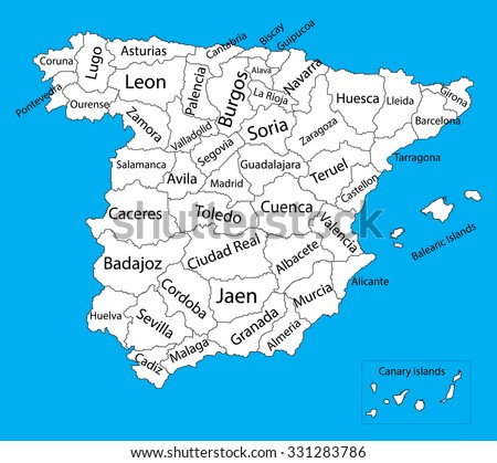 Editable blank vector map of  Spain. Vector map of Spain isolated on background. High detailed. Autonomous communities of Spain. Administrative divisions of Spain, separated provinces. - stock vector
