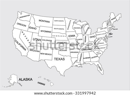 Editable blank vector map of United States. Vector map of United states of America isolated on background. High detailed usa map.Administrative divisions of United States, separated countries.  - stock vector