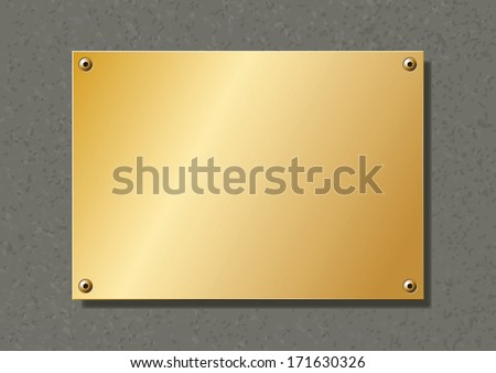 editable brass company plate fixed with allen screws - stock vector