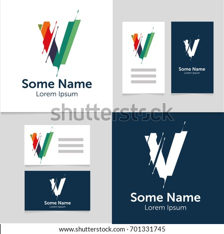 Editable business card template v letter stock vector 701331745 editable business card template with v letter logoctor illustrationeps10 accmission Choice Image