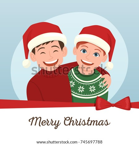 Editable christmas greeting card couple friends stock vector hd editable christmas greeting card of a couple of friends wearing their santa claus hat vector m4hsunfo