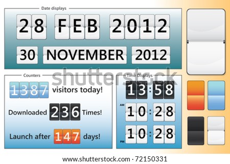 editable date, clock and counter design in different colors - stock vector