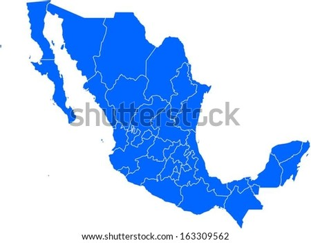 Editable EPS10 vector map with the provinces of Mexico with all province as selectable path. - stock vector