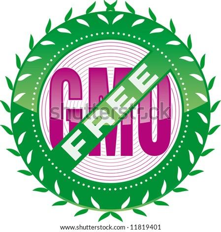 editable GMO-free sign - stock vector