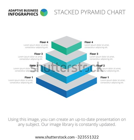 Editable infographic template of stacked pyramid chart, blue and light blue version - stock vector