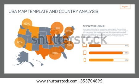 Editable infographic template usa map template stock vector editable infographic template of usa map template and country analysis with percent marks bar chart pronofoot35fo Image collections