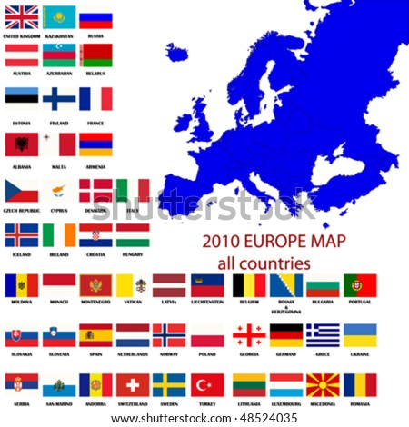 Editable map of Europe- all countries with borders and official flags in original colors
