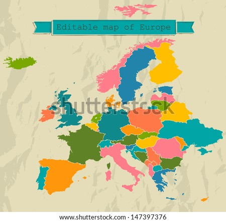 Editable map of Europe with all countries. Vector illustration EPS8 - stock vector