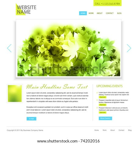 editable minimalistic website - white and green - stock vector