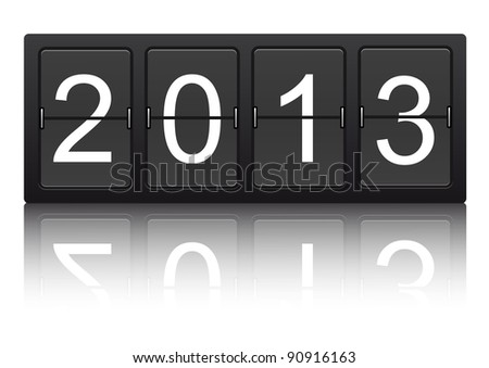editable 2013 new year on mechanical scoreboard - stock vector