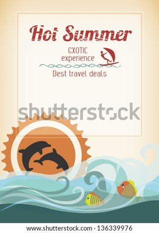 Editable retro romantic seaside poster - with stylized dolphins, fishes, waves and sunset for travel advertising - stock vector