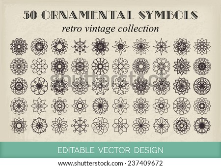 Editable round east ornament set. Vector symbols on retro background - stock vector