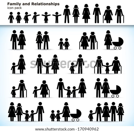 Editable set of family pictogram with children, parents and grandparents - stock vector