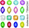 Editable shiny vector gemstones isolated on a white background - stock photo
