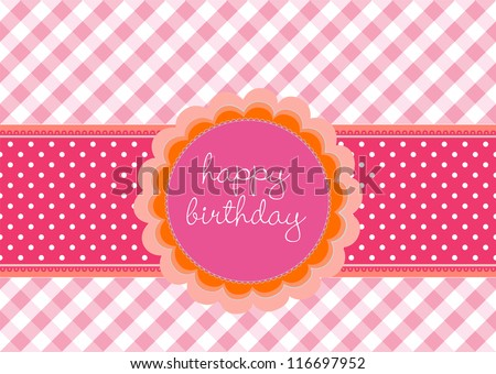 Editable template for a birthday card with flower label on a pink vichy pattern