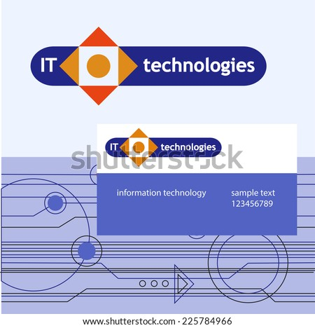 Editable template logo and brand elements. Abstract technology  - stock vector
