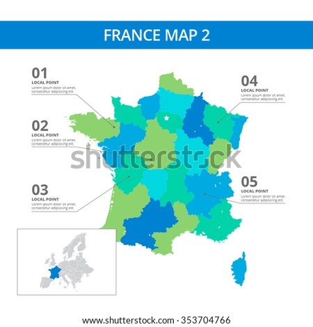 Editable template of detailed map of France with information marks and country silhouette on world map, isolated on white - stock vector