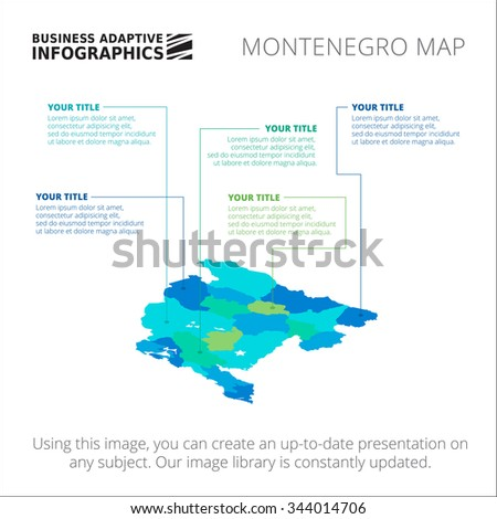 Editable Template Of Detailed Map Of Montenegro Isolated On White