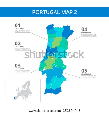 Editable template detailed map portugal information stock vector editable template of detailed map of portugal with information marks and country silhouette on world map gumiabroncs Gallery